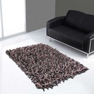 Rocky Handwoven Shaggy Wool Rugs in Chocolate