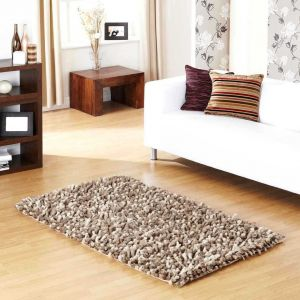 Rocky Handwoven Shaggy Wool Rugs in Taupe