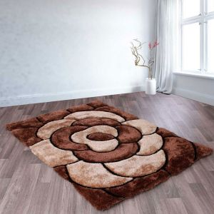 3D Rose Rugs in Chocolate