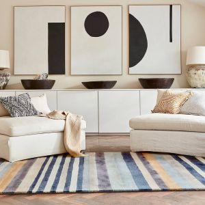Rosita Stripe Wool Rugs 140404 Putty by Harlequin