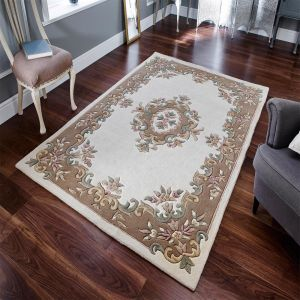 Royal Aubusson Traditional Wool rugs in Beige Cream