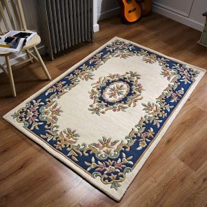 Royal Aubusson Traditional Wool rugs in Cream Blue
