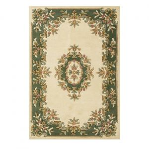 Royal Aubusson Traditional Wool rugs in Green Cream