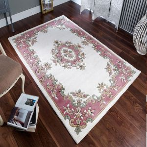 Royal Aubusson Traditional Wool rugs in Rose Cream