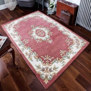 Royal Aubusson Traditional Wool rugs in Rose Pink