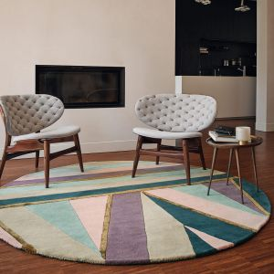 Sahara Round Rugs 56102 by Ted Baker in Pink