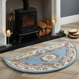 Shensi Traditional Half Moon Rugs in Blue