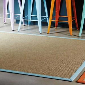 Sisal Rugs in Linen with an Aqua border
