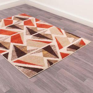 Spirit Abstract Geometric Rugs in Orange Brown