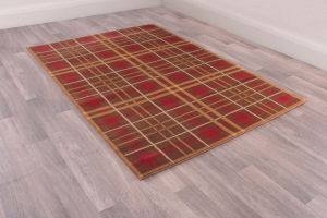 Tartan Check Modern Rugs in Brown