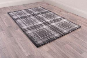 Tartan Check Modern Rugs in Grey