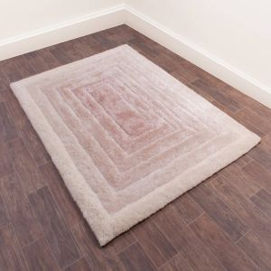 3D Time Gate Ombre Shaggy Rugs in Natural Beige