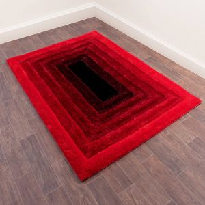 3D Time Gate Ombre Shaggy Rugs in Red