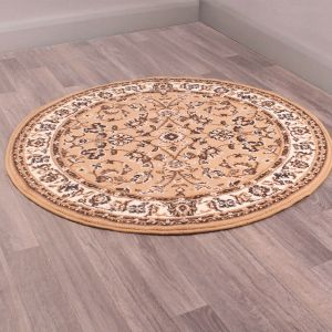Coronation Circular Rugs in Beige by Rugstyle