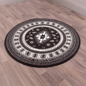 Malak Circular Rugs in Black by Rugstyle