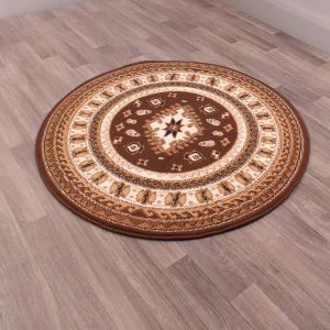 Malak Circular Rugs in Brown by Rugstyle