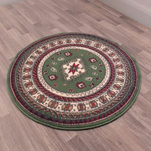 Malak Circular Rugs in Green by Rugstyle