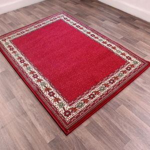 Valencia Plain Bordered Rugs in Red
