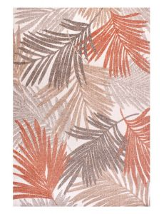 Indoor Outdoor Tropical D400A Botanical Palm Leaf Print rug in Terracotta