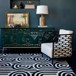 Turnabouts Rugs 039205 in Black by Florence Broadhurst