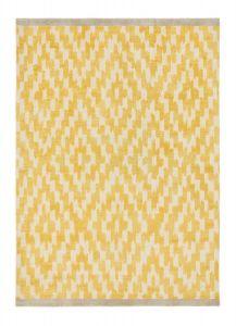 Uteki Geometric Diamond Wool Rugs 023606 in Sunflower Yellow