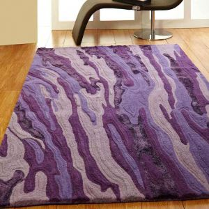 Unique Vibe Abstract Wool Rugs in Purple