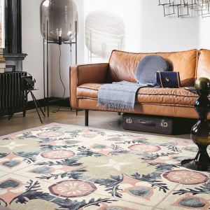 Violet Wool Rugs 57301 by Ted Baker in Light Green