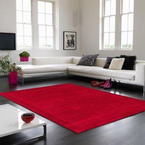 York Plain Wool Rugs in Poppy Red
