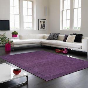 York Plain Wool Rugs in Purple