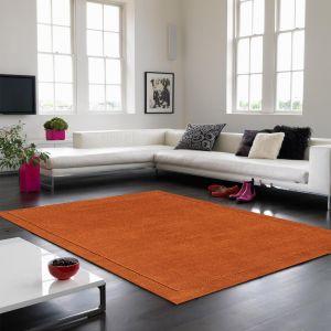 York Plain Wool Rugs in Terracotta Orange