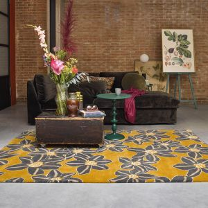 Zakouma Floral Wool Rugs 160606 by Ted Baker in Ochre Yellow